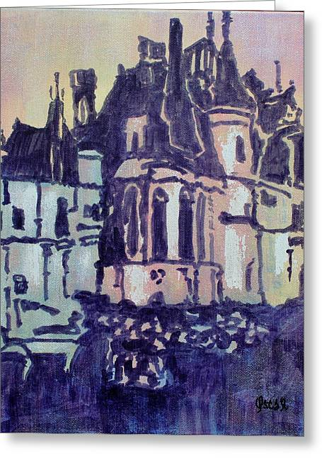 Prague Paintings Greeting Cards - Across the Street Greeting Card by Oscar Penalber