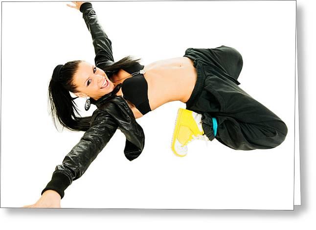 Dancing Girl Greeting Cards - Active hip-hop dancer on white Greeting Card by Nikita Buida