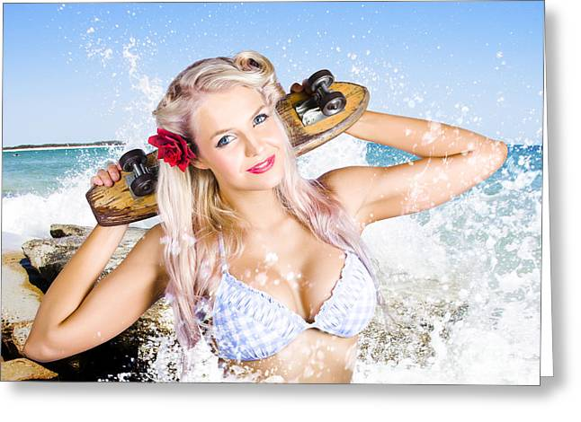 Bustier Greeting Cards - Active Sexy Summer Beach Babe With Skateboard Greeting Card by Ryan Jorgensen