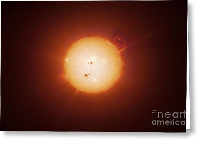 Ejection Greeting Cards - Active Sun, Artwork Greeting Card by Detlev van Ravenswaay