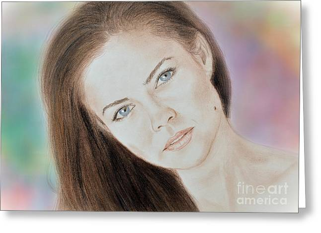 Beauty Mark Greeting Cards - Actress and Model Susan Ward Blue Eyed Beauty with a Mole Greeting Card by Jim Fitzpatrick