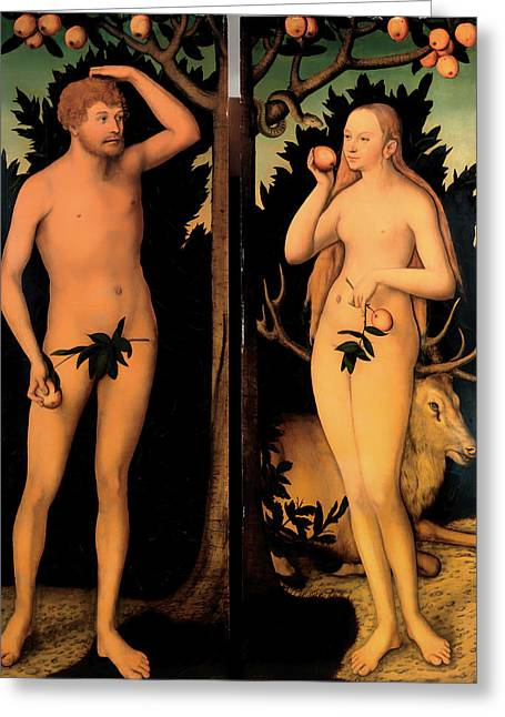 Religious work Paintings Greeting Cards - Adam and Eve Greeting Card by Lucas Cranach the Younger