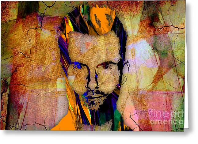 The Voice Greeting Cards - Adam Levine Painting Greeting Card by Marvin Blaine