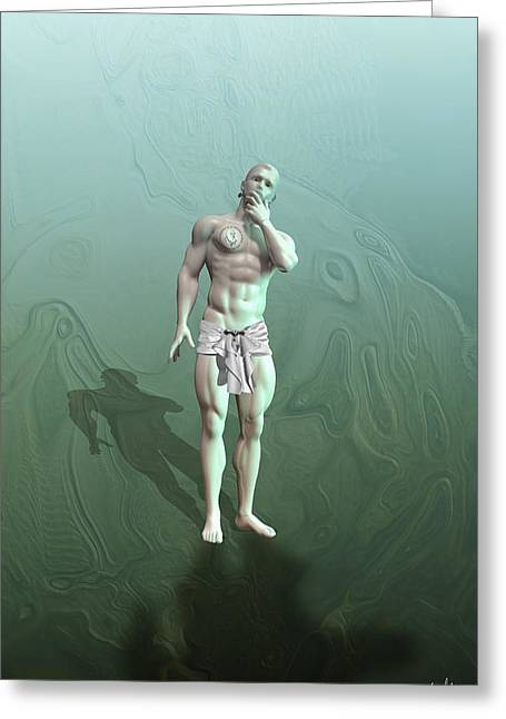 Muscular Digital Art Greeting Cards - Adam synthetic Greeting Card by Joaquin Abella