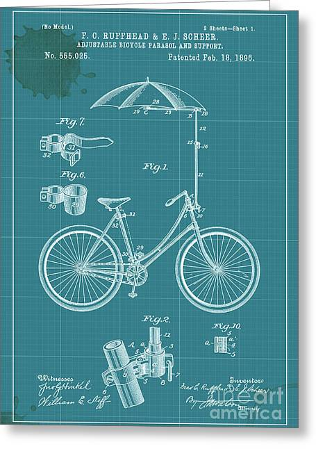 Support Drawings Greeting Cards - Adjustable Bicycle Parasol and Support Patent Greeting Card by Pablo Franchi