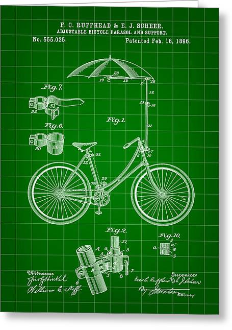 Tandem Bicycle Greeting Cards - Adjustable Bike Patent 1896 - Green Greeting Card by Stephen Younts