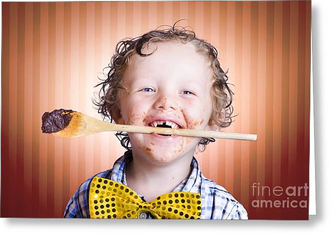 Preteen Greeting Cards - Adorable Little Boy Cooking Chocolate Easter Cake Greeting Card by Ryan Jorgensen