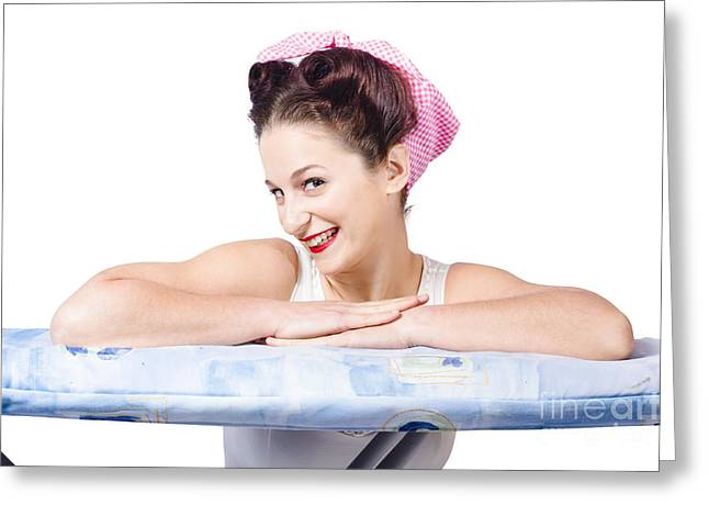 Adorable Sixties Pin Up Lady On Ironing Board Greeting Card by Jorgo Photography - Wall Art Gallery