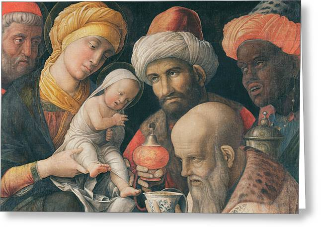Turbans Greeting Cards - Adoration of the Magi Greeting Card by Andrea Mantegna