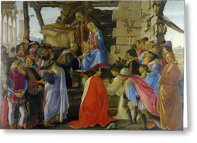The Uffizi Greeting Cards - Adoration of the Magi Greeting Card by Sandro Botticelli