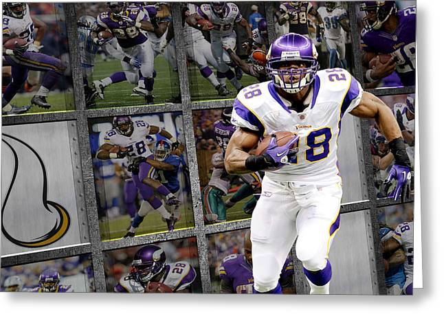 Peterson Greeting Cards - Adrian Peterson Minnesota Vikings Greeting Card by Joe Hamilton
