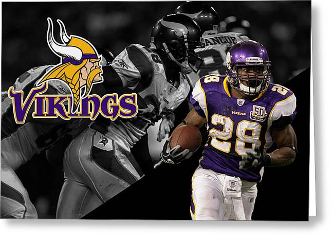 Peterson Greeting Cards - Adrian Peterson Vikings Greeting Card by Joe Hamilton