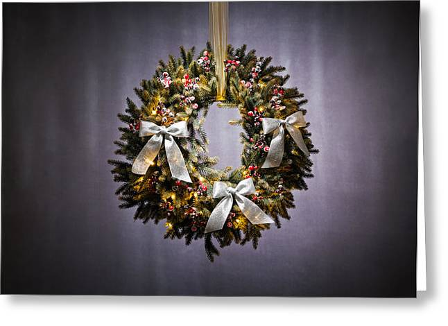 Christmas Eve Greeting Cards - Advent wreath over silver background Greeting Card by Ulrich Schade