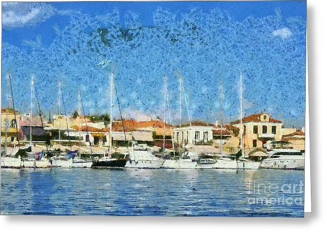 Greek Greeting Cards - Aegina port Greeting Card by George Atsametakis