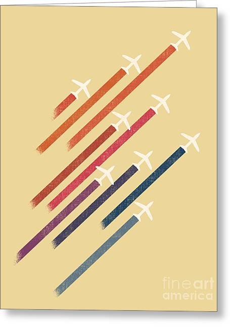 Jet Airplane Greeting Cards - Aerial Display Greeting Card by Budi Kwan
