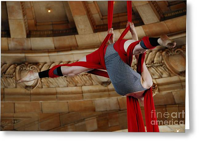 Umbrella Greeting Cards - Aerial Ribbon Performer at Pennsylvanian Grand Rotunda Greeting Card by Amy Cicconi