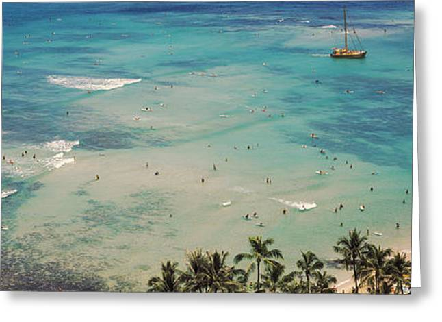 Incidental People Greeting Cards - Aerial View Of A Beach, Waikiki Beach Greeting Card by Panoramic Images