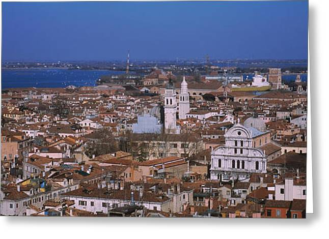 Giotto Greeting Cards - Aerial View Of A City Along A Canal Greeting Card by Panoramic Images