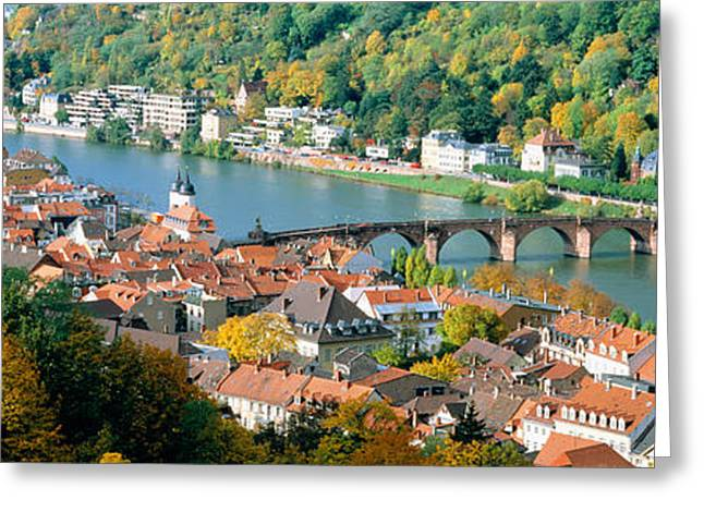 Colors Of Autumn Greeting Cards - Aerial View Of A City At The Riverside Greeting Card by Panoramic Images