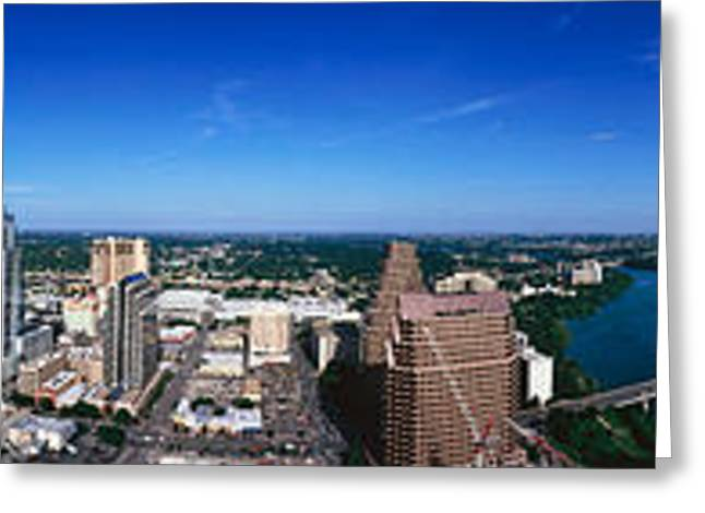 Austin 360 Greeting Cards - Aerial View Of A City, Austin, Travis Greeting Card by Panoramic Images
