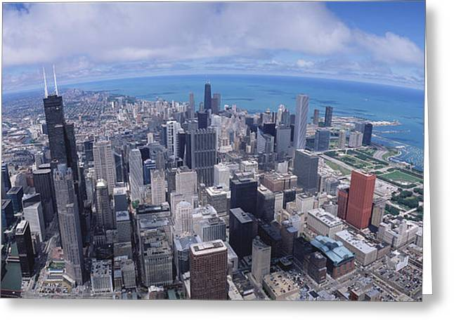 Overcast Day Greeting Cards - Aerial View Of A City, Chicago Greeting Card by Panoramic Images