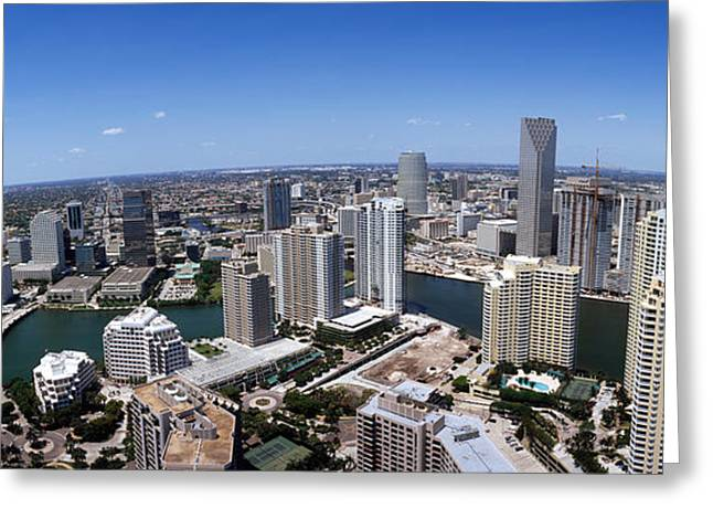 Florida Bridge Greeting Cards - Aerial View Of A City, Miami Greeting Card by Panoramic Images