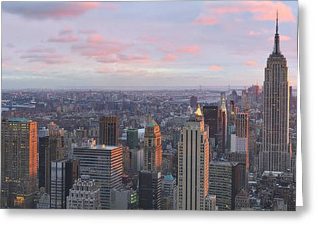 Evening Scenes Greeting Cards - Aerial View Of A City, Midtown Greeting Card by Panoramic Images