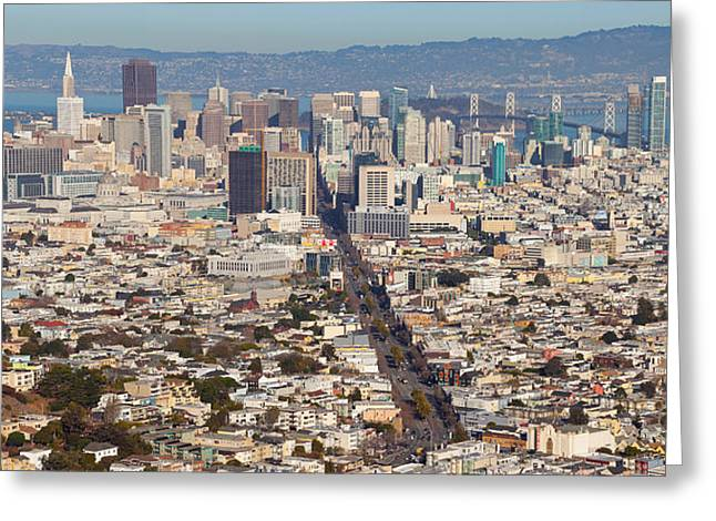 California Ocean Photography Greeting Cards - Aerial View Of A City, San Francisco Greeting Card by Panoramic Images
