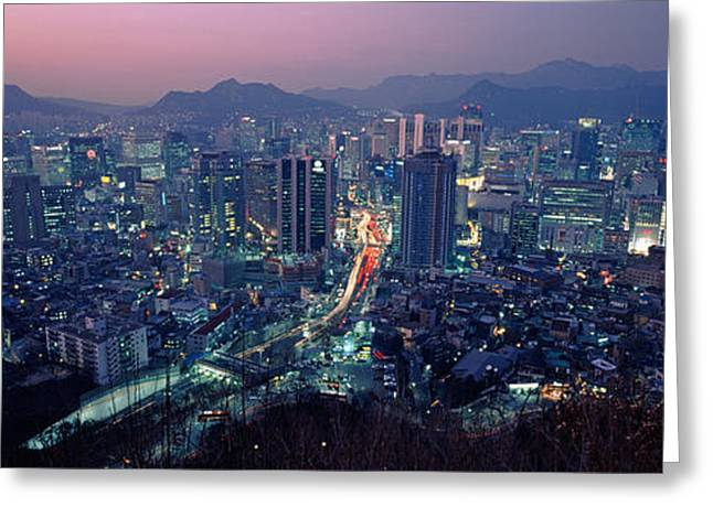 Seoul Greeting Cards - Aerial View Of A City, Seoul, South Greeting Card by Panoramic Images