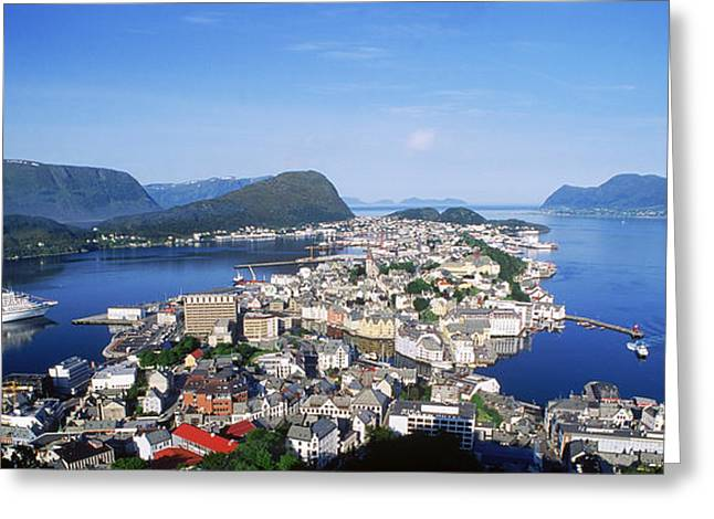 Passenger Ship Greeting Cards - Aerial View Of A Town On An Island Greeting Card by Panoramic Images