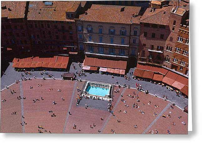 Town Square Greeting Cards - Aerial View Of A Town Square, Palazzo Greeting Card by Panoramic Images