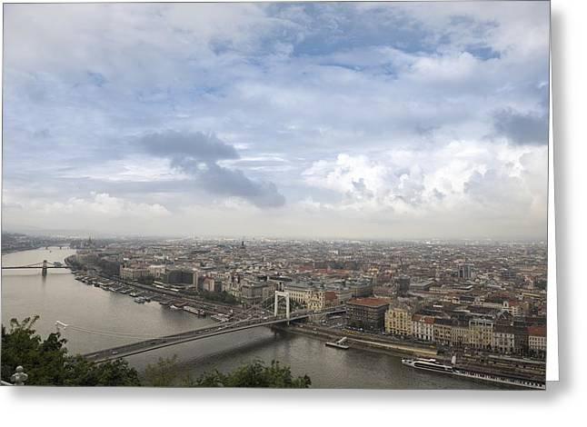 Outlook Pyrography Greeting Cards - Aerial view of Budapest with Danube Greeting Card by Oliver Sved
