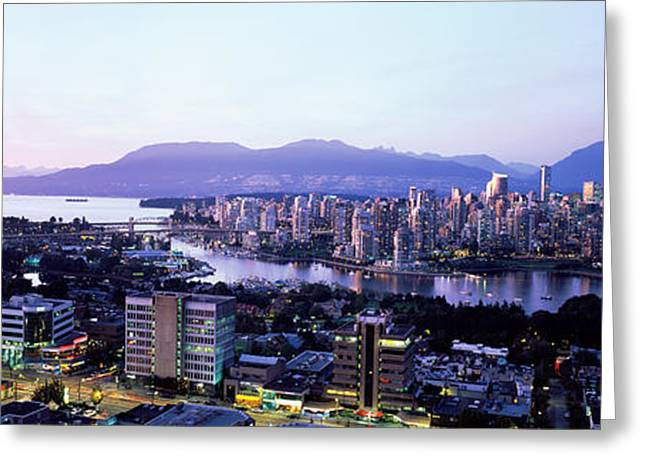 Vancouver Greeting Cards - Aerial View Of Cityscape At Sunset Greeting Card by Panoramic Images