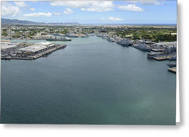 Hickam Greeting Cards - Aerial View Of Military Ships Moored Greeting Card by Stocktrek Images