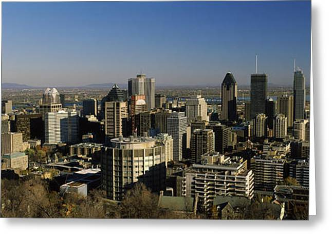 Chalet Greeting Cards - Aerial View Of Skyscrapers In A City Greeting Card by Panoramic Images