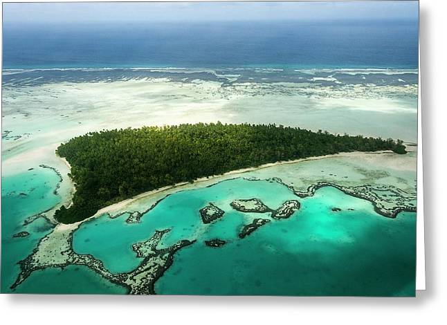 Aerial View Of St Joseph Atoll Greeting Card by Peter Chadwick