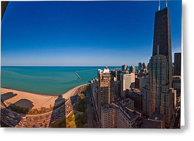 John Hancock Tower Greeting Cards - Aerial View Of The Lake Shore Drive Greeting Card by Panoramic Images