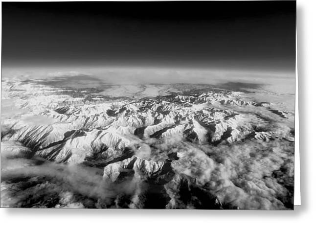 Snow-covered Landscape Photographs Greeting Cards - Aerial View of the Pyrenees  Greeting Card by Mountain Dreams