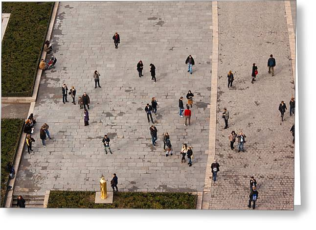 Town Square Greeting Cards - Aerial View Of Tourists Viewed Greeting Card by Panoramic Images