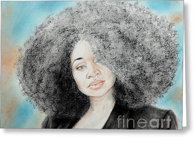 African-americans Greeting Cards - Aevin Dugas Holder of the Guinness Book of World Records for the Biggest Afro Greeting Card by Jim Fitzpatrick