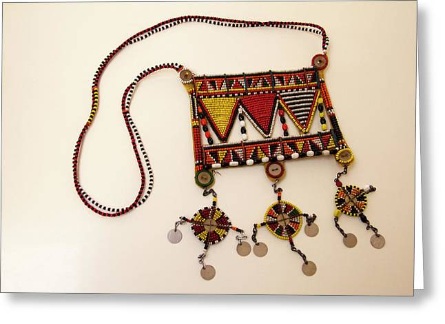 Africa, Kenya Maasai Tribal Beadwork Greeting Card by Kymri Wilt