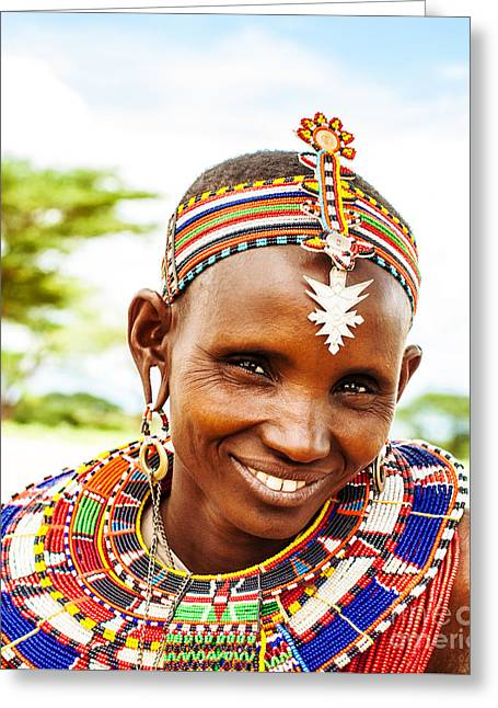 African Tribal Woman Greeting Card by Anna Om