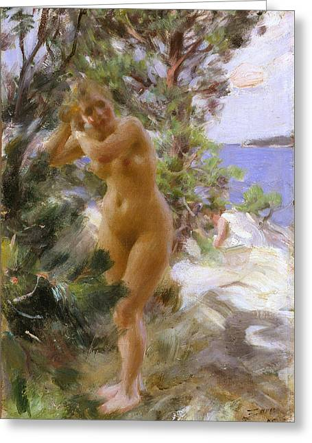 After The Bath Greeting Card by Anders Zorn