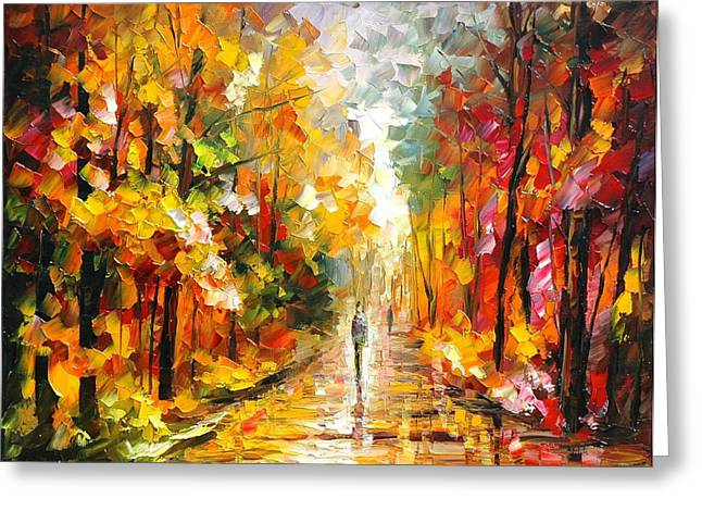 After The Rain Greeting Card by Leonid Afremov