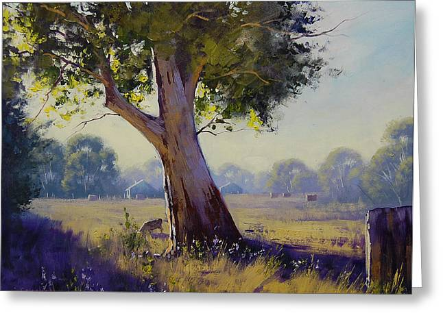 Bales Paintings Greeting Cards - Afternoon Light Grazing Greeting Card by Graham Gercken