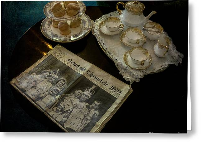 Queen Greeting Cards - Afternoon Tea Greeting Card by Adrian Evans