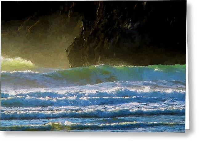 Agate Beach Oregon Greeting Cards - Agate Beach Surf Greeting Card by Boyd Miller