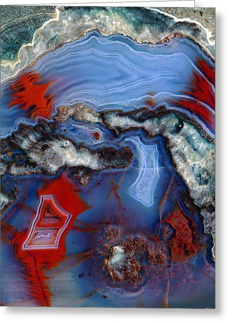 Hematite Greeting Cards - Agate lava geode Greeting Card by Science Photo Library