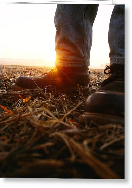 Work Boots Greeting Cards - Agriculture - Closeup Of A Farmers Greeting Card by Andrew Sacks