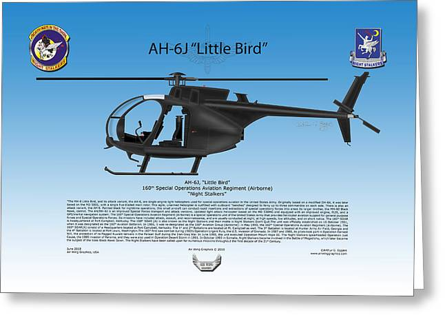 Just Cause Greeting Cards - AH-6J Little Bird Greeting Card by Arthur Eggers
